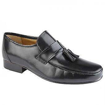 Kensington Angelo Mens Leather Toggle Loafers Black