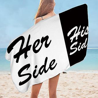 His Side Her Side Microfiber Beach Towel