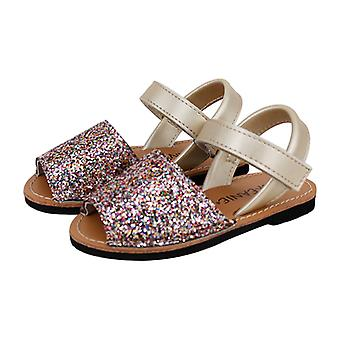 SKEANIE Kids Avarcas Leather Sandals Glittery Gold