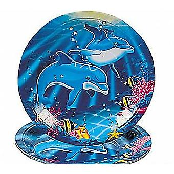 8 Dolphin Paper Plates for Sealife Parties