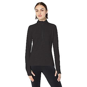 Core 10 Plus Size Women's LS 1/4 Zip, Zwart, 3X (22W-24W)