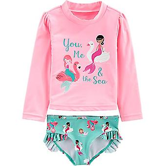 Simple Joys by Carter's Girls' 2-Piece Rashguard Set, Pink Mermaid, 6-9 Months