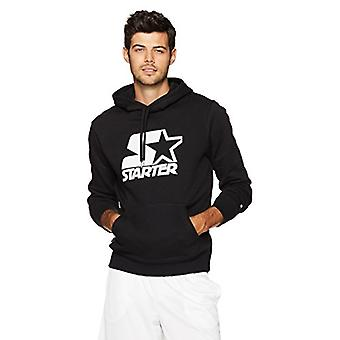 Starter Men's Pullover Graphic Hoodie, Black with White Logo, XL