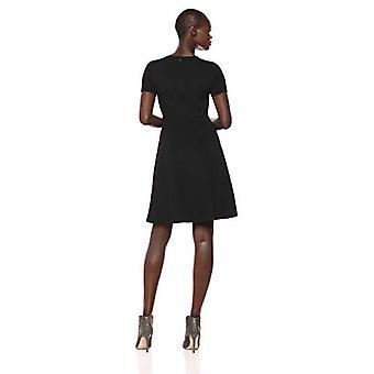 Lark & Ro Women's Half Sleeve Paneled Fit and Flare Dress, Black, 4