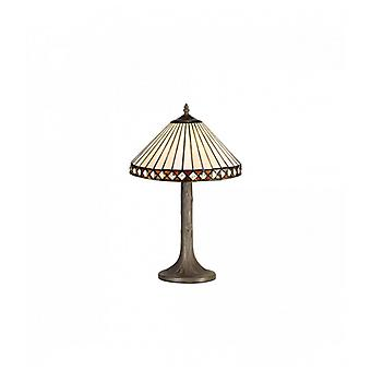 Carole 1 Light Tree Like Table Lamp E27 With 30cm Tiffany Shade, Amber/c/crystal/aged Antique Brass
