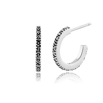 Classic Round Marcasite Half Hoop Style Earrings in 925 Sterling Silver 214E552501925