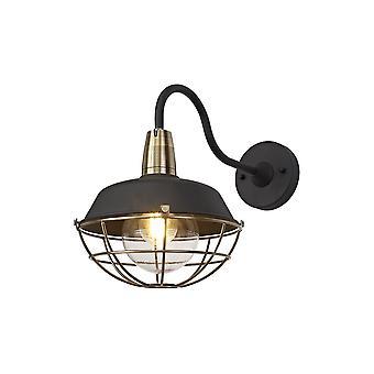 Luminosa Beleuchtung - Wandleuchte, 1 Light E27, IP65, Matt Schwarz, Antik Messing
