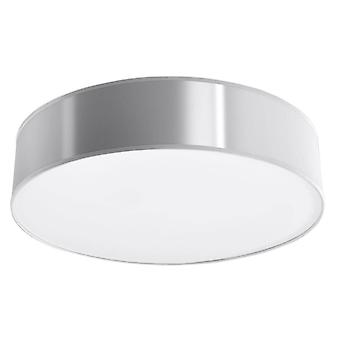 3 Light Flush Round Ceiling Light Silver, E27