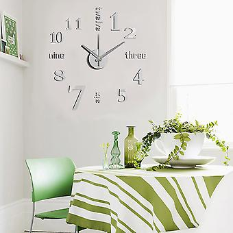 Modern Home Self Adhesive DIY 3D Wall Clock - Linus Metal