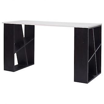 Rebecca Möbel Schreibtisch mit Regalen weiß weiß Modern Schwarz 75x140x60