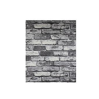 9.84x1.96Inch Ziegel-Wallpaper selbstklebende Tapete grau
