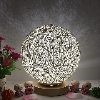 Hand-knit Lampshade With Wooden Base-moon Style Usb Table Night Lights