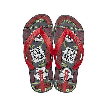 Ipanema SK8 Kids Flip Flops / Sandals - Grey Red