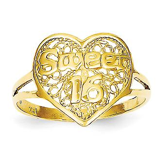 14k Ouro Amarelo Sólido Filigree Doce 16 Love Heart Ring Size 6 Joias Para Mulheres