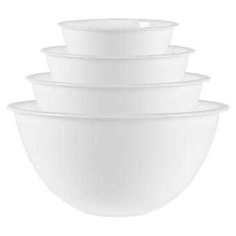 Bormioli Rocco 4 Piece Easy Glass Nesting Mixing Bowl Set - Heavy Duty, Dishwasher and Microwave Safe - 4 Sizes