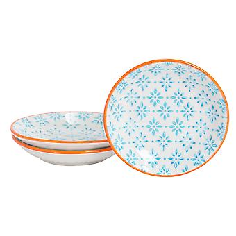 Nicola Spring 3 Piece Hand-Printed Sauce Dish Set - Small Japanese Style Porcelain Salsa Dipping Plates - Blue - 10cm