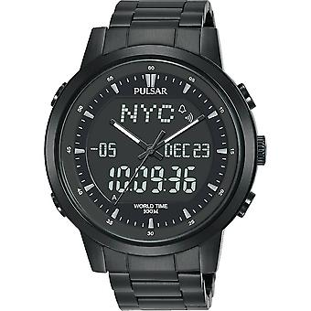 Pulsar Men Black Sports World Timer Black Ion Coated Stainless Steel Strap Watch