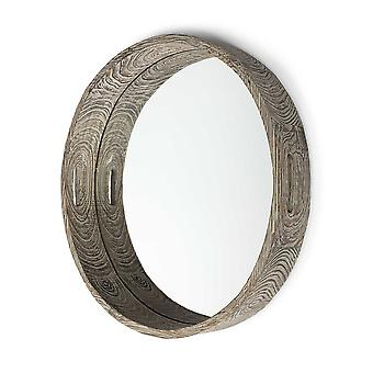 """28"""" Round Natural Finish Fir Wood Mirrored Glass Bottom Tray"""