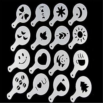 16pcs Plastic Barista Art Stencils - Coffee Mold Milk Cake Cupcake Decor
