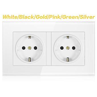 Wall Crystal Glass Panel 146*86 Multi Way Power Socket Plug Eu Standard Electrical Double Socket Strip