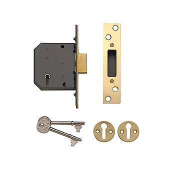 Yale Locks PM552 5 Lever Mortice Deadlock 67mm 2.5in Polished Brass YALPM552PB25