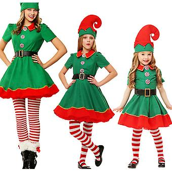 Christmas Costume Parent-child Suit, Christmas Elf Cosplay, Green Christmas Costume