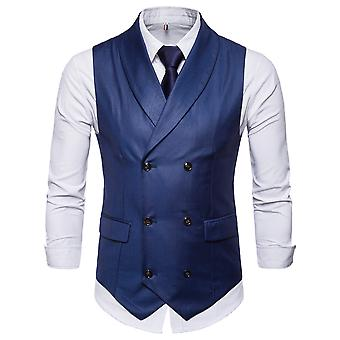 YANGFAN Men-apos;s Lapel Double-breasted Suit Vest Casual Stylish Solid Color Waistcoat