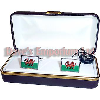 Welsh Flag Cufflinks by Dalaco - Gift Boxed - High Quality - Wales Dragon Cymru