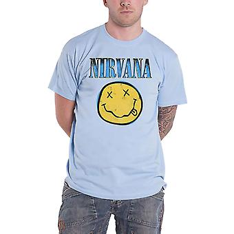 Nirvana T Shirt Smiley Blue Band Logo new Official Mens Light Blue