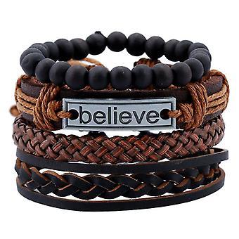 Bracelet en cuir vintage Believe Words Charm Multicouchez Tisser Bracelet perlé