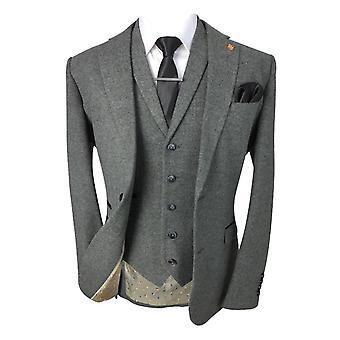 Men's Martez Grey Slim Fit Tweed Retro Vintage Herringbone Suit
