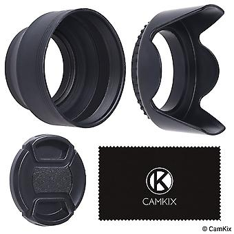 Set of 2 camera lens hoods and 1 lens cap - rubber (collapsible) + tulip flower - sun shade/shield - wom95273