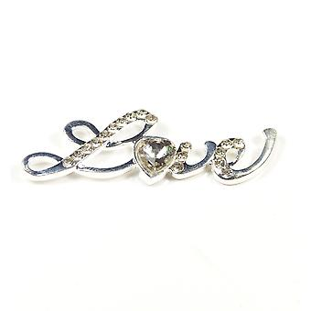 5 Large Silver Love Embellishments with Large Diamante Heart