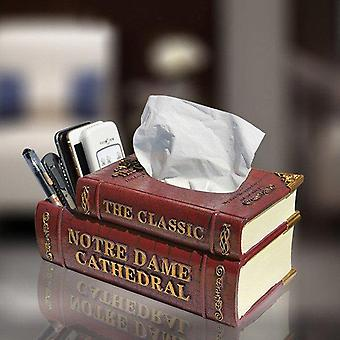 Double Layer Resin Book Tissue Remote Box