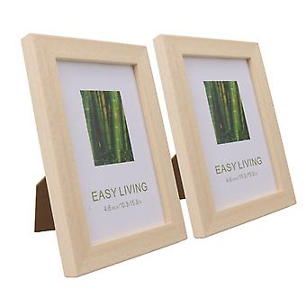 Solid Wood And Plexiglass Picture Frames Wood Color 4x6 Inch Pack of 2