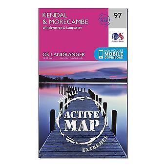 OS Landranger Active 97 Kendal  Morecambe  Windermere & Lancaster Map With Digital Version Orange