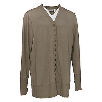 Belle by Kim Gravel Women's Sweater French Terry Cardigan Beige A372720