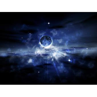 Digitaalisesti generoiva planeetta avaruudessa Juliste Tulosta