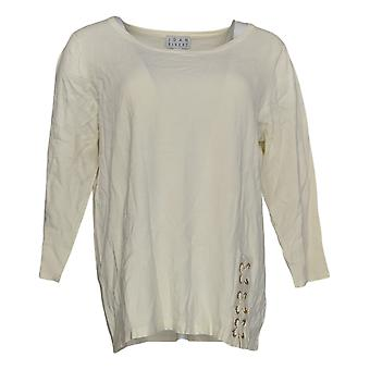 Joan Rivers Women's Sweater 3/4 Slv Scoop Neck W/ Lace Detail White A309778