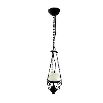 Dolls House Black Gas Paraffin Lamp White Shade Hanging Electric Ceiling Light