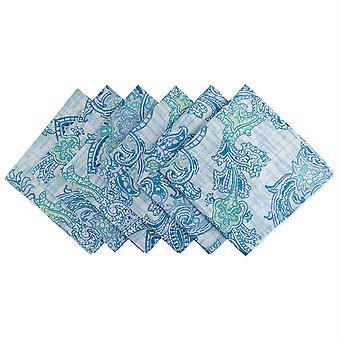 Dii azul acuarela Paisley impresión al aire libre Napkin (conjunto de 6)