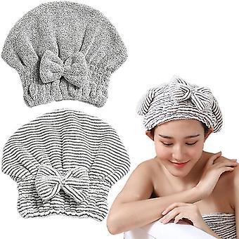 Bamboo Charcoal Fiber Hair Drying Towel Hat Bath Shower Head Turban Absorbent