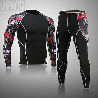 Men's Thermal Underwear Set Mma Tactics Leggings Solid Color Costume Compress