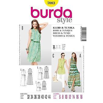 Burda Symønster 7083 - Savner Sjal Tunika & Kjoler Størrelser: 6-18