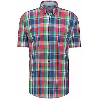 FYNCH HATTON Fynch Hatton Mens Big Size Premium Soft Cotton Check Button Down Collar Short Sleeve Shirt Navy Madras