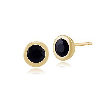 Gemondo 9ct geel goud ingelijst ronde 0.77ct saffier Stud Earrings