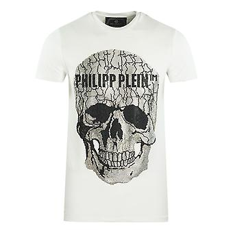 Philipp Plein Grote Gebarsten Schedel Logo Wit T-Shirt