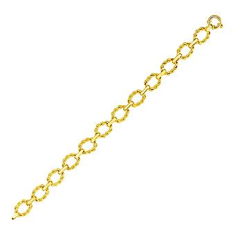 14k Yellow Gold Twisted Oval Link Bransoletka
