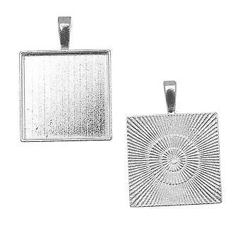 بيدل قلادة، مربع 20mm المنطقة الداخلية، 1 قطعة، مطلي الفضة