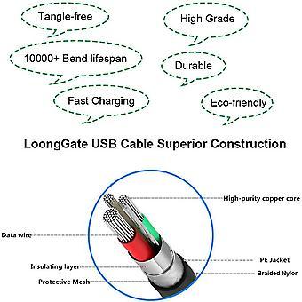 FengChun lange USB-C-Kabel, Nylon geflochtene 90 Grad USB-Typ C zum Typ A für Galaxy Note 8, S8,